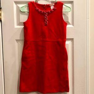 Crewcuts Sheath Red Dress Decorated Neckline
